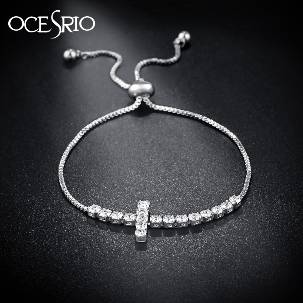 Us 3 65 19 Off Ocesrio Silver Cross Bracelets For Women Cubic Zirconia Adjule Charm Bracelet Female Copper Chain Fashion Jewelry Brt K41 In