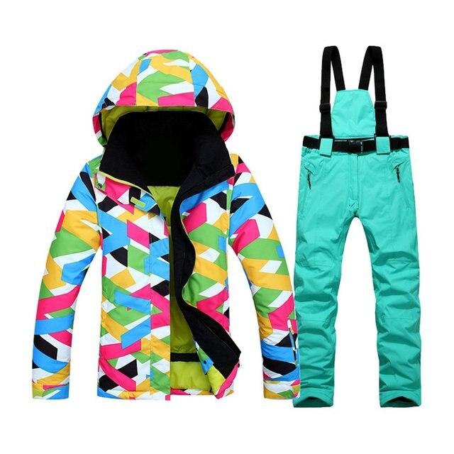 Женская лыжная куртка + брюки Сноубординг Лыжный спорт женский зимний костюм куртка и брюки непромокаемые ветрозащитные высокое качество