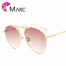 MARC óculos de sol UV400 NEW MULHERES Óculos Piloto designer de óculos de sol  Oculos moda Rosa Gradiente Espelho Azul óculos de . 0783c80b20