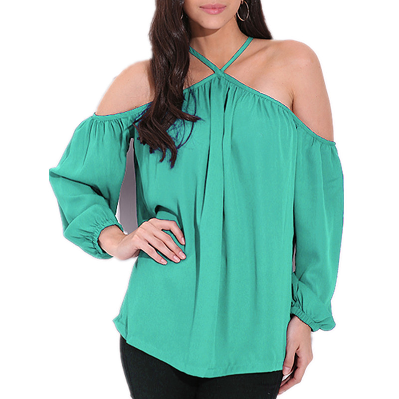 CELMIA Summer Blouse 2018 Women Sexy Halter Off Shoulder Shirts Female Casual Long Sleeve Loose Chiffon Tops Blusas Plus Size