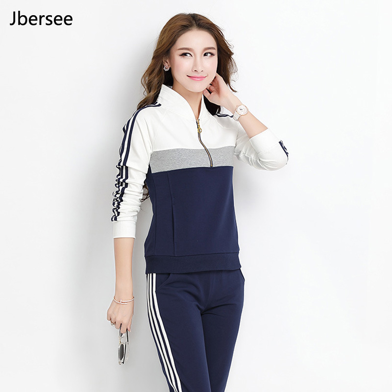 Spring Autumn Female 2 Piece Set Pullover High Quality Stand Collar Two Piece Set Casual Women Slim Tracksuit Set  YZ8006