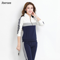 Spring Autumn Female 2 Piece Set Pullover High Quality Stand Collar Two Piece Set Casual Women
