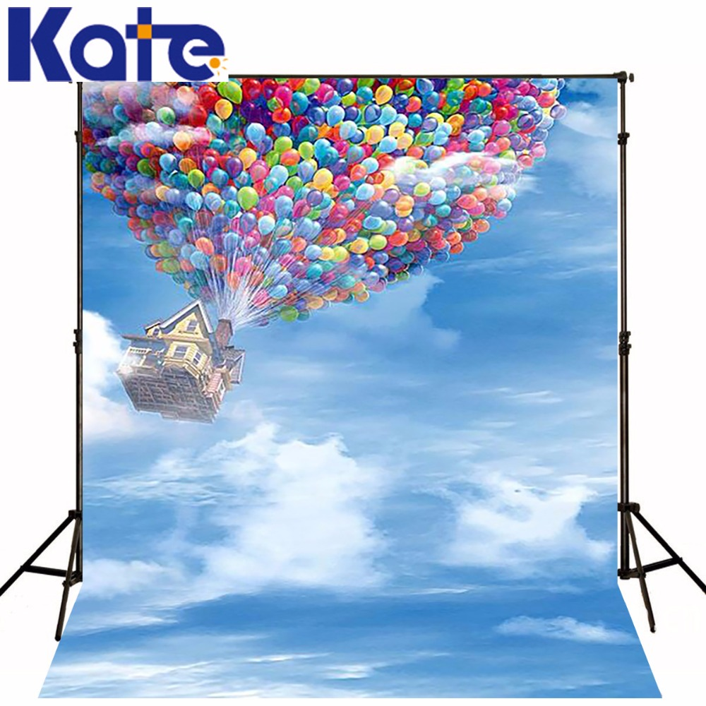 Sky balloons flying house backgrounds for photo studiophotography backdrops LK 1315