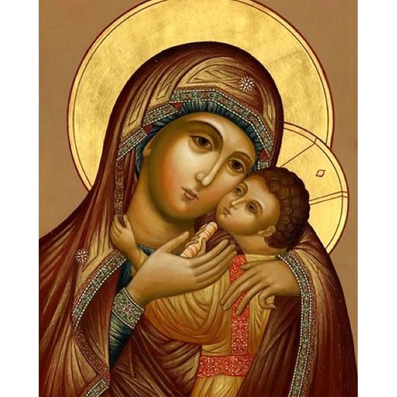 Urijk Frameless Oil Painting Virgin Mary Jesus Wall Art Orthodox Icon Religi Oil Painting By Numbers Canvas DIY Modular Painting