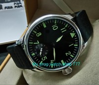 green luminous 44mm parnis 6498 / ST3621 17 jewels Mechanical Hand Wind movement butterfly buckle men's watches 383A