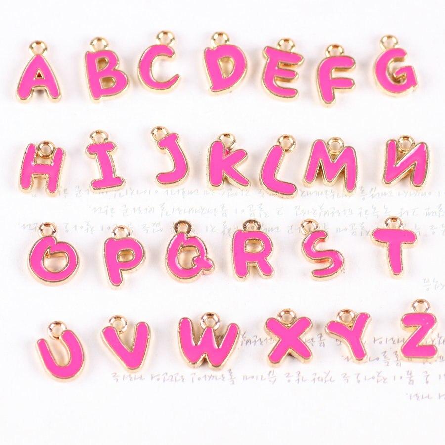 Mini Order 26PCS Enamel Oil Drop Hot Pink Color Mixed A Z Alphabet ...