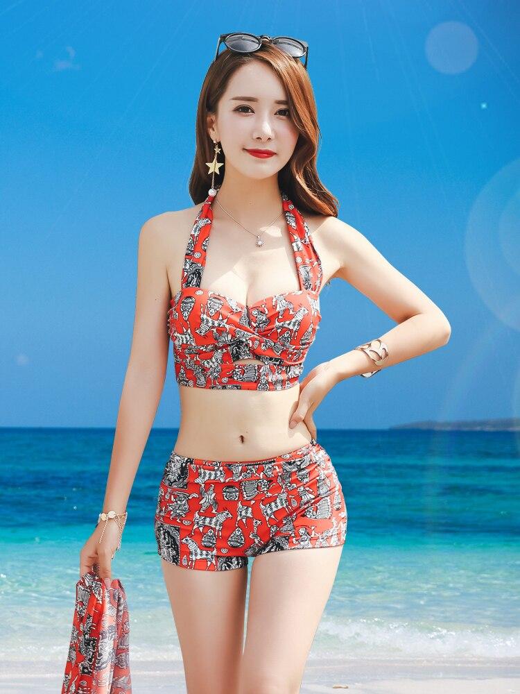Strand liebling abdeckung fleisch badeanzug weibliche bikini drei-stück set stahlplatte brust versammelt große brust sexy abnehmen bademode