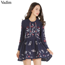 Vadim vintage floral butterfly pattern embroidery pleated dress long sleeve o neck autumn casual retro loose straight vestidos