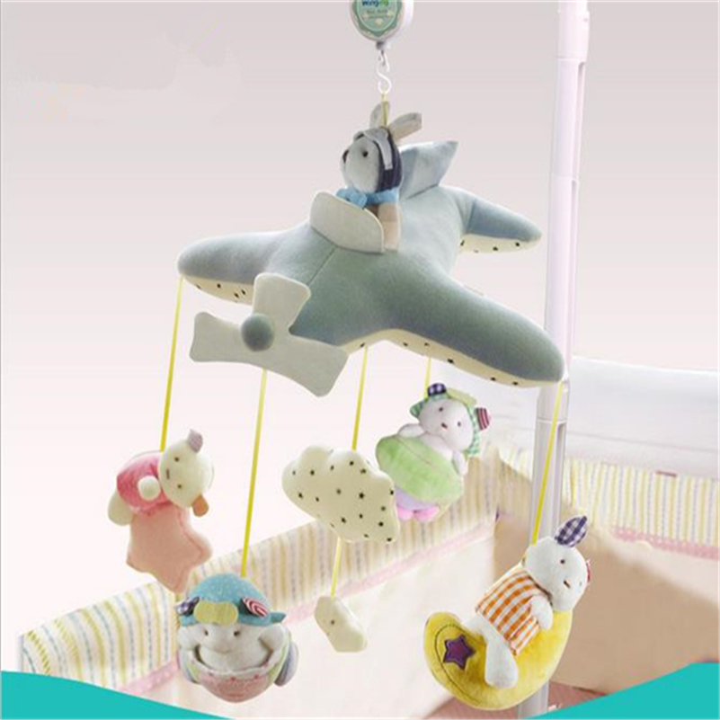 ФОТО Baby Mobile Bed Bell Newborn Toy 0-12 Months Baby Plush Doll Infant Baby Rattle Bracket Set 30 or 60 songs Musical Box Holder W1