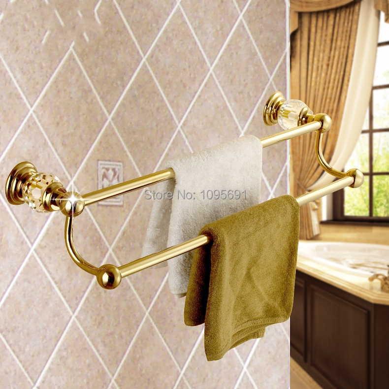 Solid Brass & Crystal Towel Bar,Towel Holder, Towel Rack Bathroom Accessories ,PVD-Ti Gold plating okaros bathroom double towel bar 60cm towel rack towel holder solid brass golden chrome plating bathroom accessories