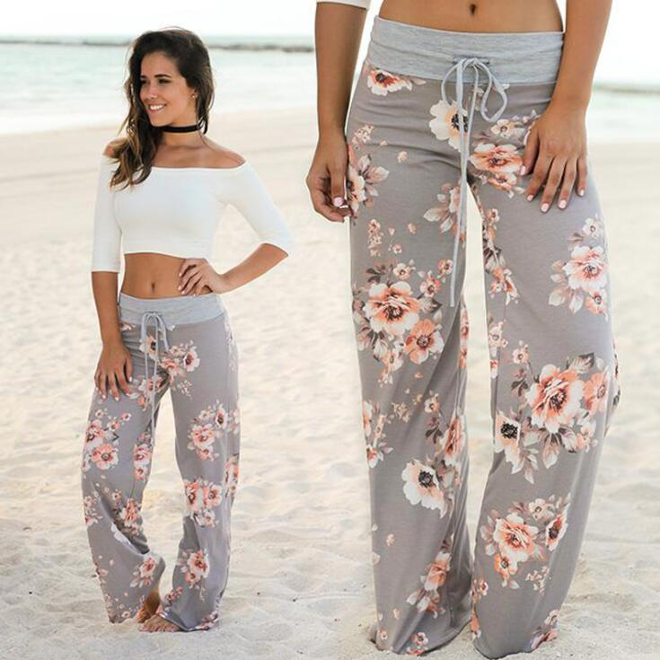 2019 Brand   Wide     Leg     Pants   Women Loose Floral Print High Waist Elastic Straight Trousers Long Casual Female Trousers Drawstring