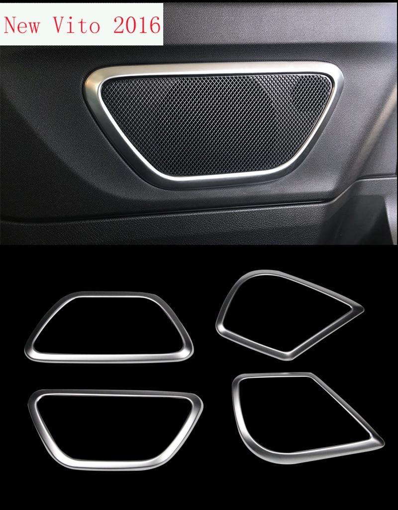 TTCR II 4pcs ABS Accessories for Mercedes Benz VITO 2016 Interior Door Speaker Loudspeaker Panel Trim