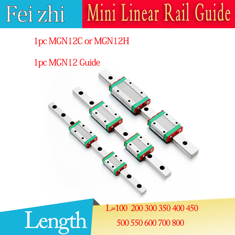 3D print parts Linear Guide MGN12 L=100 200 300 350 400 500~800mm Linear guide rail + MGN12C or MGN12H linear slider cnc parts