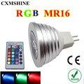 10 PCS MR16 RGB LED Spot Lâmpada 12 V/DC 16 Cores mudando 5 W Spotlight luz com 24 teclas de Controle Remoto de iluminação