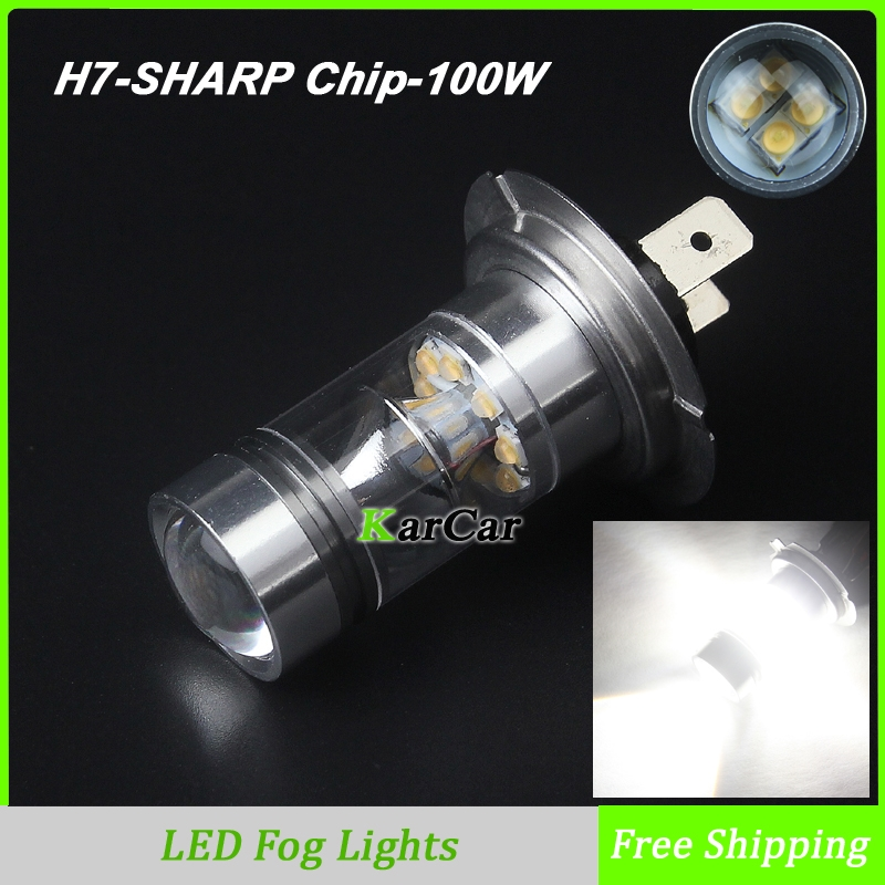 Hot Sale High Power 100W 850LM Car LED Bulb H7 Socket Fog Lights 12V-24V DRL Daytime Light, 360 degree LED Bulbs White