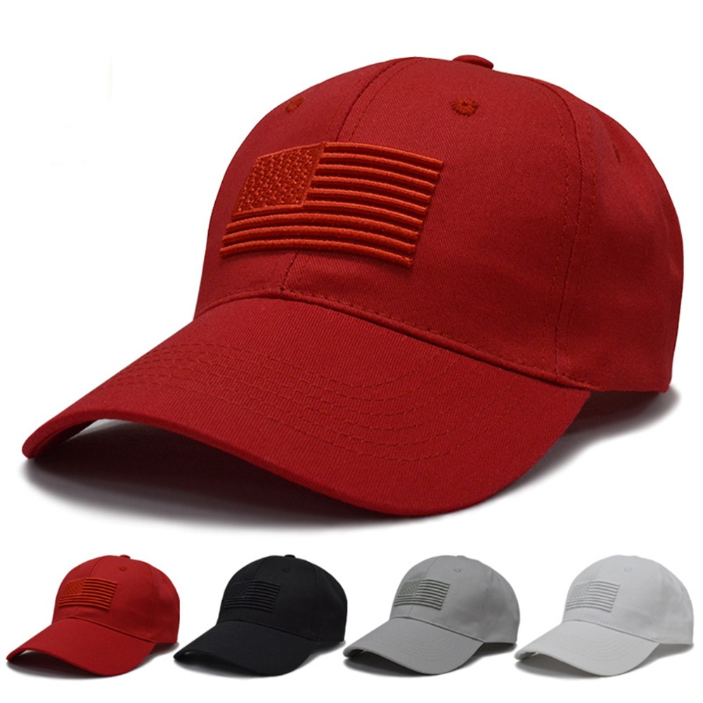 Hats/  Caps   2019 Spring Summer Golf   Baseball     Cap   Women Men Unisex Embroidery USA Flag Dad Hat Solid Adjustable Bone Snapback   Caps