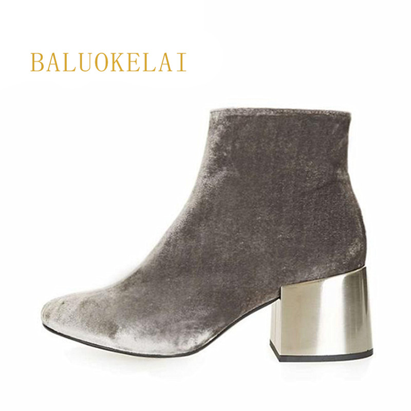 Fashion 2018 Hot Sale Top Quality Flannel Ankle Boots for Women Autumn Winter High Heel Round Toe Solid Grey Women Shoes K-134 hot sale tassel pendant autumn winter reversible oversized batwing poncho cape shawl for women