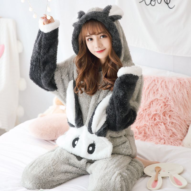 Winter Coral Velvet Plush Women's Pajamas Set Thick Flannel Long Sleeve Cartoon Pajama Sets Female Rabbit Warm Home Clothes