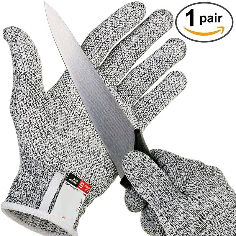 אנטי-לחתוך כפפות בטיחות לחתוך הוכחת דקירה עמיד נירוסטה חוט מתכת Mesh מטבח הקצב לחתוך עמיד בטיחות כפפות
