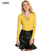 ORMELL 6 Colors Sexy V Neck Cross Bandage Autumn Women Pullovers 2016 Fashion Thin Long Sleeve Slim Sweaters S XXL Ladies Tops