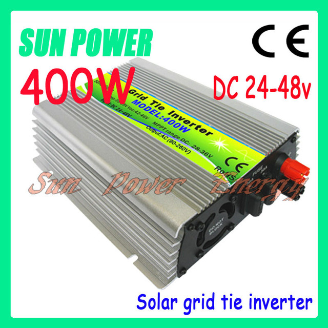 Free shipping 400W  DC24-48V , 230V/110V grid tied inverter,pure sine wave power output, Small volume, simple installation