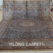 Yilong 10'x14′ Vantage medallion design silk rug large antique persian silk carpet (1888)