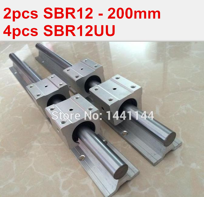 SBR12 linear guide rail: 2pcs SBR12 - 200mm linear guide + 4pcs SBR12UU block for cnc parts 2pcs 12mm linear rail sbr12 l600mm linear guide rail 4pcs sbr12uu bearing block for cnc