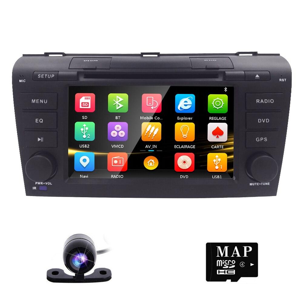 Caméra libre 7 Double 2 Din Voiture Stéréo Lecteur DVD de Navigation pour Mazda 3 Mazda3 2004-2009 avec GPS, Bluetooth, iPod, USB, SD, 3G