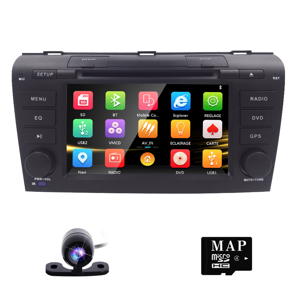 Free Camera 7 Double 2 Din Car Stereo DVD Player Navigation for Mazda 3 Mazda3 2004-2009 with GPS, Bluetooth, iPod, USB, SD, 3G 7 touch screen car dvd stereo player for mazda3 mazda 3 2004 2005 2006 2007 2008 2009 bluetooth radio gps navigation system