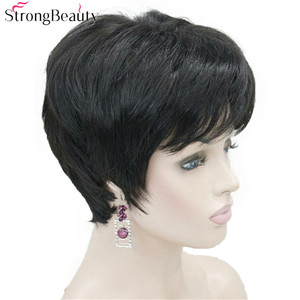 Image 3 - Strong Beauty Short Synthetic Straight Wigs Heat Resistant Black Hair For Women