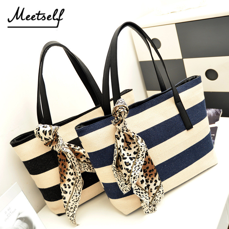 MEETSELF Canvas Ladies Handbags Women Navy Stripe Bag Large Capacity High Quality Leopard Ribbons Luxury Shoulder Bags CS044