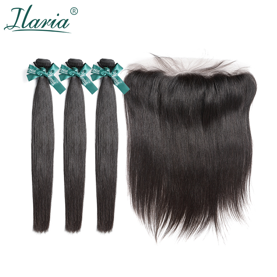 ILARIA Brazilian Straight Human Hair Bundles With Closure 100 Remy Hair Weave Bundles With 13x4 Lace