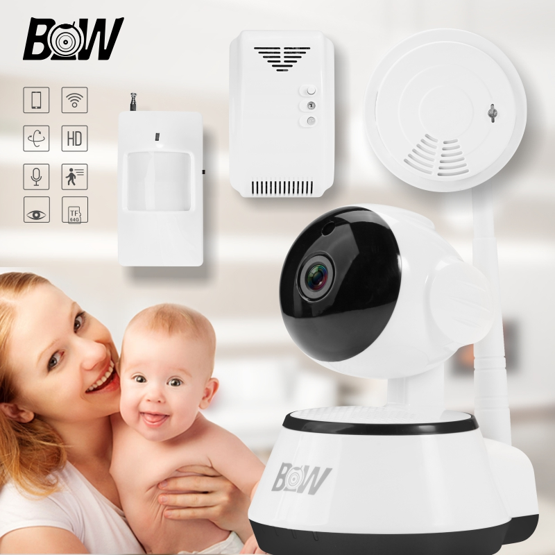 BW Security Wireless IP Camera Wi-Fi HD + PIR Motion Sensor/Gas Detector/Smoke Detector Network 720P WiFi IP Camera BW014 720p hd ip camera security door sensor infrared motion sensor smoke gas detector wifi camera monitor equipment alarm bw13b
