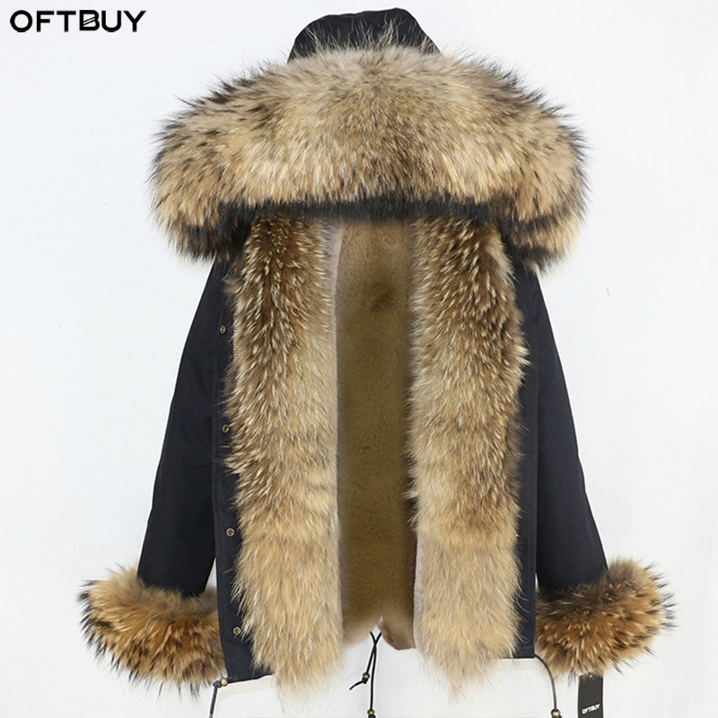 OFTBUY 2019 Winter Jacket Women Real Fur Coat Short Parka Natural Raccoon Fur Collar Thick Warm Streetwear Outerwear Casual New