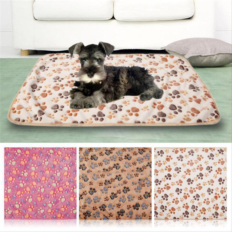 Pets Mat Soft Warm Fleece Paw Print Design Pet Puppy Dog Cat Mat Blanket Bed Sofa Pet Warm Product Cushion Cover Towel