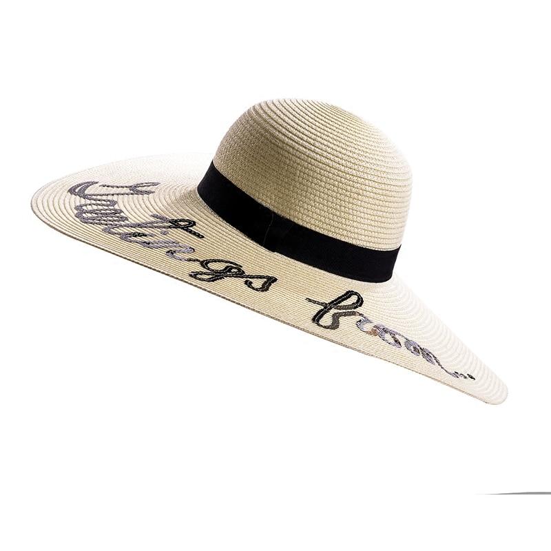 2018 verano grande ala sombreros de Sol para las mujeres moda ...