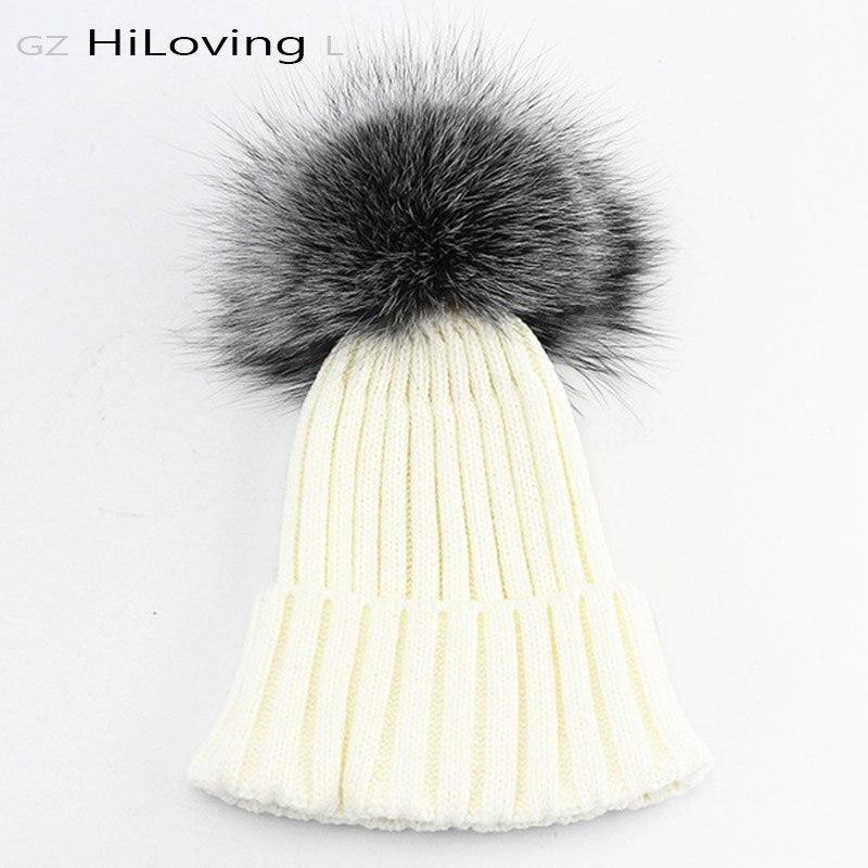 2016 Winter Beanie Real Silver Fox Fur Pompom Knitting Beanies Hat For Women Black Real Raccoon Fur Pom Pom Skullies Beanie Hats