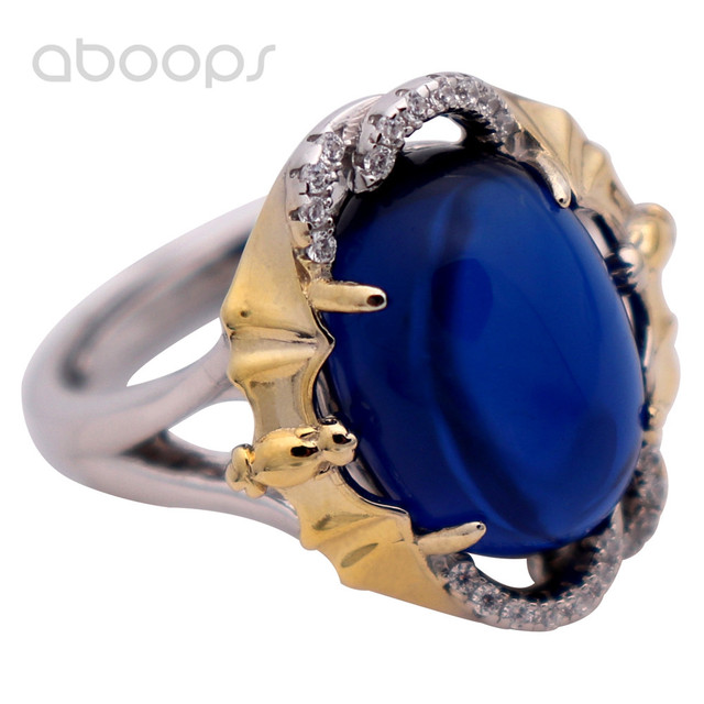 Womens Two Tone Adjustable 4-Prong Setting Oval Blue Corundum Ring 925 Sterling Silver Free Shipping