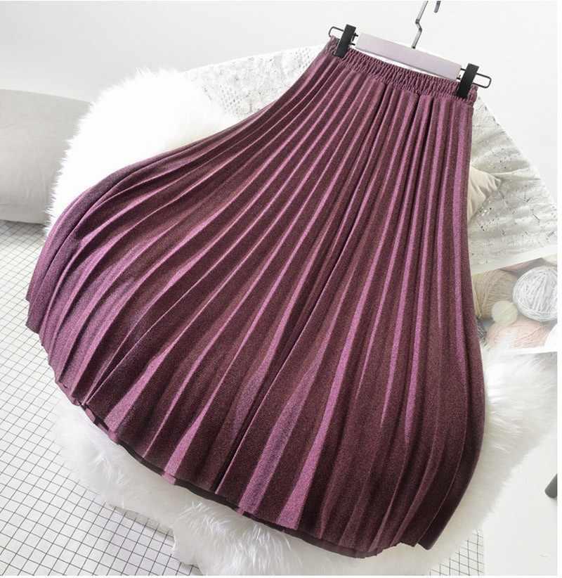 8bc3142c2 ... Women Japanese Style Woolen Midi Skirt Ladies Harajuku Solid Color  Elastic High Waist Pleated Skirts Saias ...