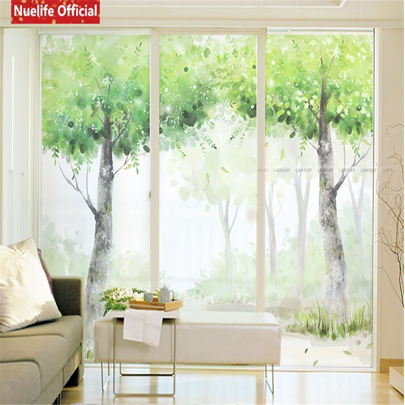 Green Tree Forest Pattern Electrostatic Insulation Frosted Glass Film Living Room Bedroom