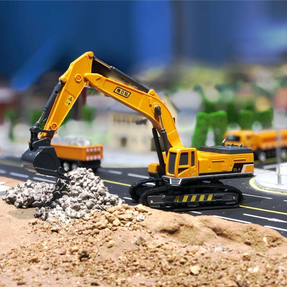 Excavator Mainan Model 1:55 Diecast Teknik Mainan Anak Kendaraan Hidrolik Penggali Truk Traktor Mainan Model Mobil Mainan untuk Anak Laki-laki