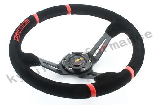 KYLIN STORE -2015 Hot sale Steering Wheel 350mm MOMO Deep Corn Drifting Steering Wheel / Suede Leather -1