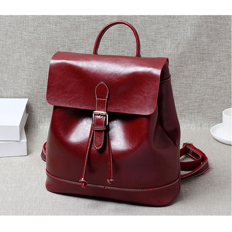 Korean Style Woman Genuine Leather Oil Wax Cowhide Woman Soft Backpack Vintage Large Capacity Double Shoulder Bag Friend Gifts women s oil wax genuine cowhide leather backpack lady girl school bag crossbody shoulder travel bag for woman mr1037