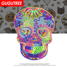 GUGUTREE Rope embroidery Sequins big skull patches love heart patches badges applique patches for clothing XC-47 gugutree rope embroidery sequins big skull patches love heart patches badges applique patches for clothing xc 47