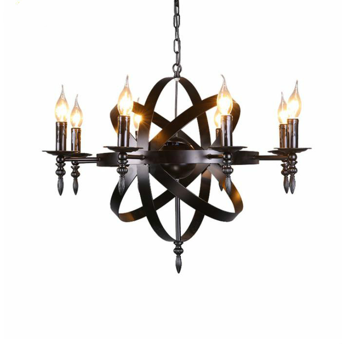 Nordic American village 6 Lights Candle Glass Candle Chandelier Heritage Frosted Iron  living, dining, bedroom bar decorationNordic American village 6 Lights Candle Glass Candle Chandelier Heritage Frosted Iron  living, dining, bedroom bar decoration