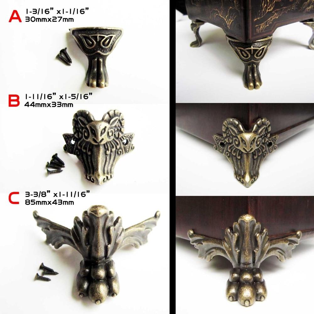 4pcs Antique Brass Vintage Bronze Jewelry Chest Box Wooden Case Decorative Feet Leg Metal Corner Protector With Screws