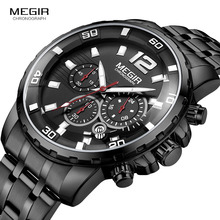 MEGIR Men's Dress Quartz Watches Analogue Quartz Wrist Watch for Man Stainless Steel Strap Luminous Hands Waterproof 2068G-BK-1 super speed v6 v0176 imitation racer quartz wrist watch for man black red 1 x lr626