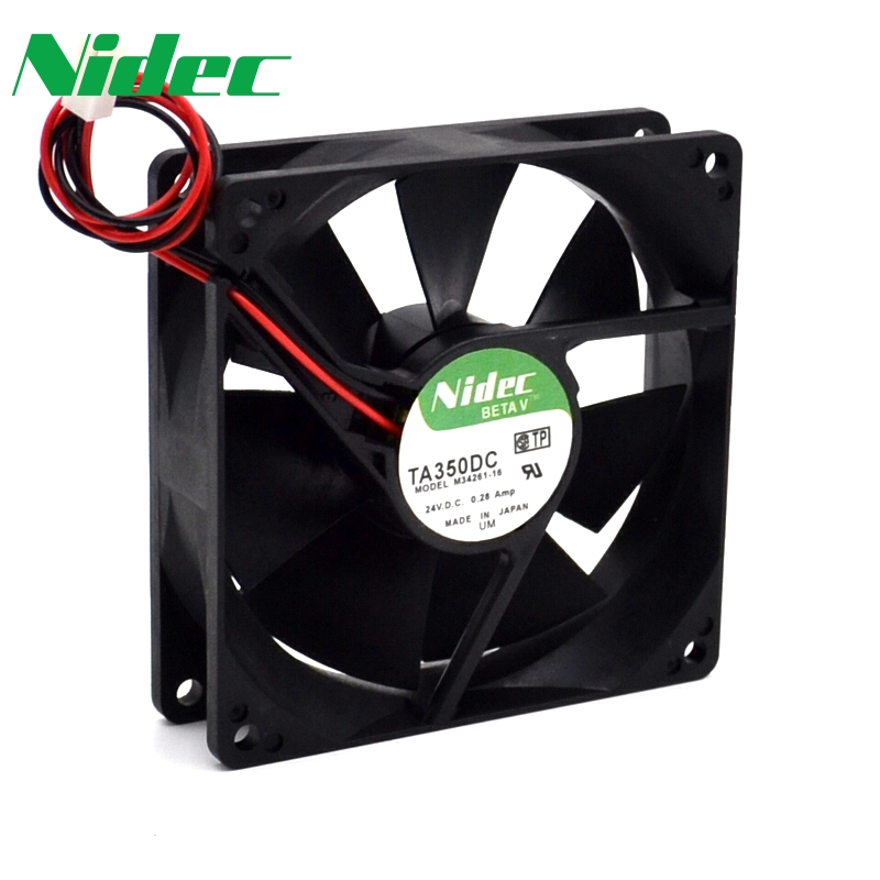 Nidec orginal 90*90*25mm 2-wire TA350DC M34261-16 9025 24V 0.28A double ball inverter welding machine cooling fan nmb new and original fba09a12m 9025 9cm 12v 0 2a chassis silent cooling fan 90 90 25mm