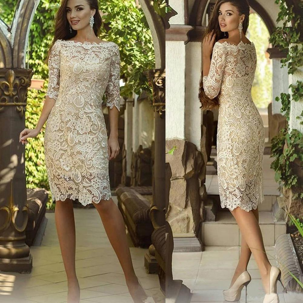 Vestido Novia Zipper Back Short Evening Party Gowns 2018 Full Lace Knee Length Mother Of The Bride Dresses With Half Sleeves