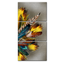 3 Panels Colorful Feathers Canvas Paintings Wall Art Canvas Prints Abstract Pop Art Canvas Modular Pictures For Living Room Wall